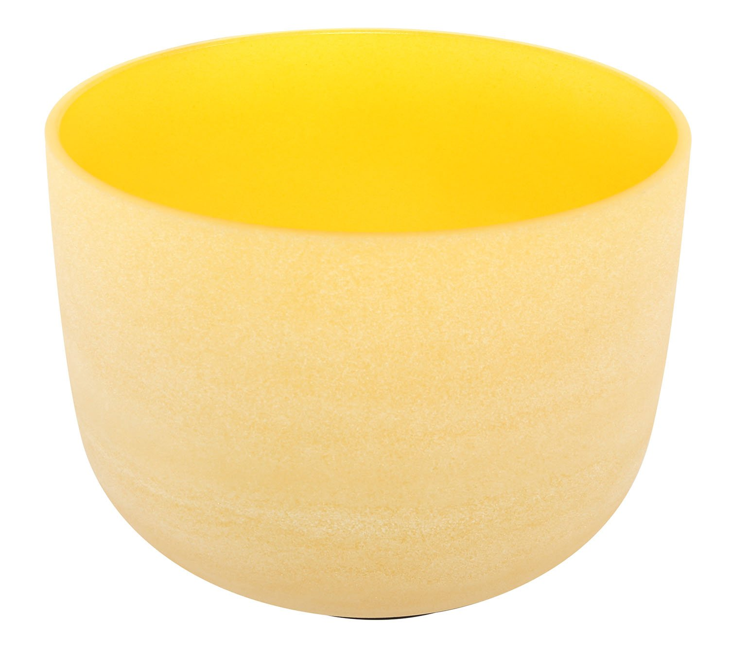Yellow Color Frosted Crystal Singing Bowl Note E Solar plexus Chakra 13 inch Best and Highest Quality Sound & Material Yellow Rubber Ball Mallet with Wooden Handle Included by UBTer