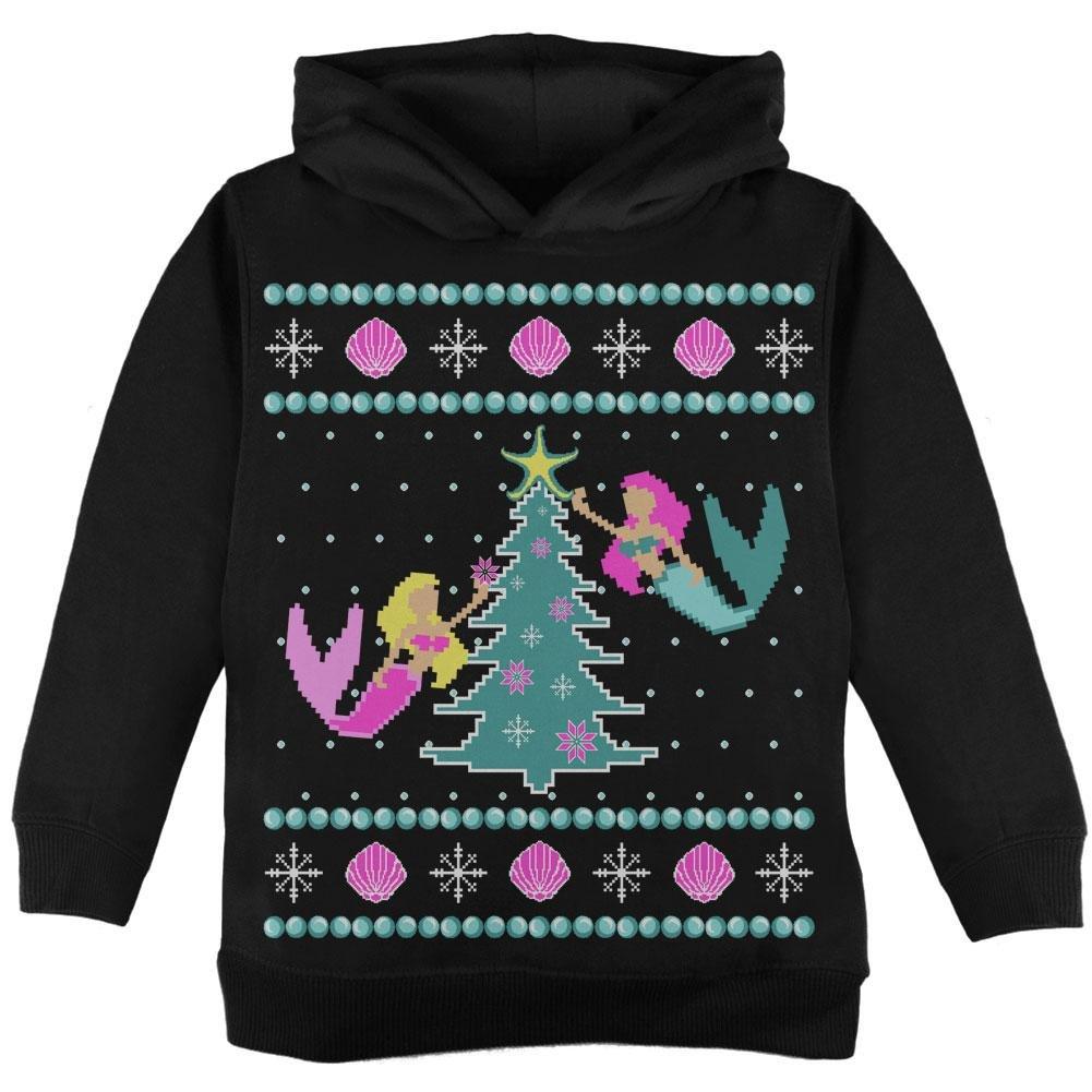 Old Glory Mermaid Tree Ugly Christmas Sweater Toddler Hoodie