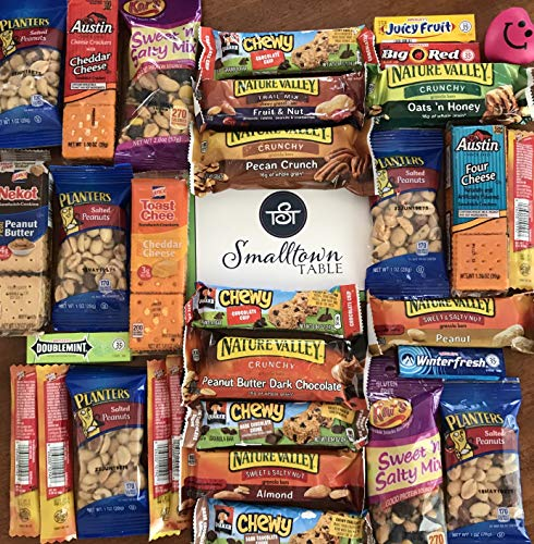Care Package Ultimate Snack Pack Grab and Go for College students, Office, Lunch Boxes, Assorted Bars, Nuts Trail Mix & Snack Assortment
