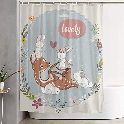 Amazon ELKFOREST Lovely Deer Play With Rabbit Shower Curtain