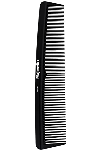 Hair Comb- a Professional Hairdressing Carbon Fibre Comb by Majestik+, Strength & Durability, Medium and Fine Tooth, Black, With Free Bespoke PVC Product Pouch (MPC-002)