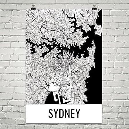 Modern map art sydney poster sydney art print sydney wall art sydney map