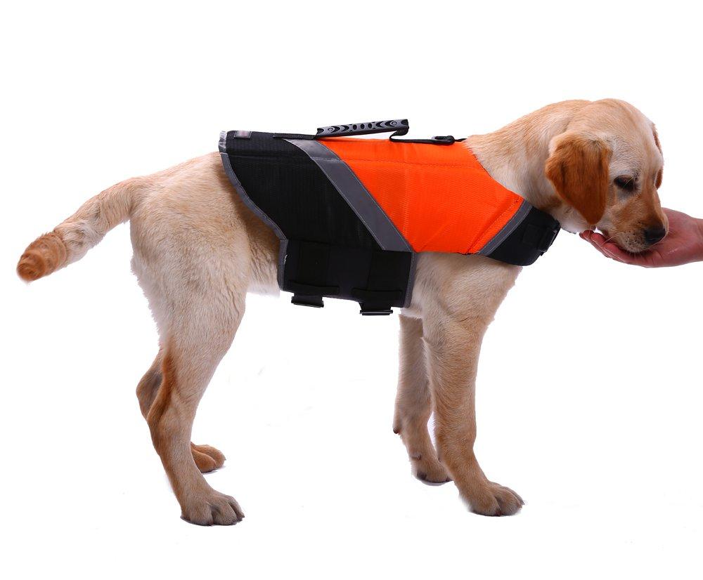 orange Large orange Large Dog Life Jacket, Reflective Stripes Floatation Vest Swimming Float Saver for Small Medium Large Dogs,Swimsuit with Adjustable Safety Belt at Beach,Pool,Boat(orange L)