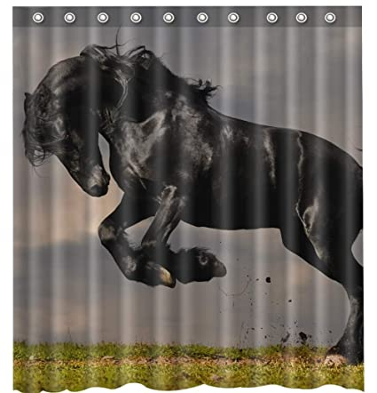 Amazon Waterproof Mouldproof Shower Curtain Horse Theme 66 X