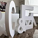 """Iniciales de Boda en Corcho   120 cm de altura x 10 cm de grosor   Letras Fabricadas en Corcho Color Blanco   Letras de Corcho Elegantes y Originales   Símbolo """"&"""" de Regalo"""
