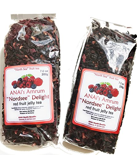 Red Berry Fruit Tea, Red Jelly, Amrumer Rote Gruetze, Super Foods Cultivated and Imported From Northern Germany. 2 x 7 oz bags. High in Vitamins and Anti-Oxidants to Boost Immune System!