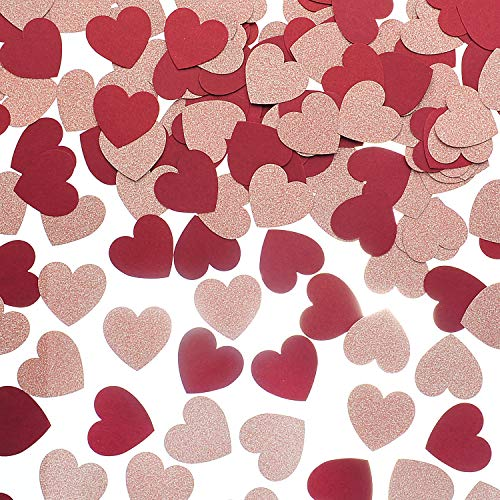 MOWO Glitter Heart Paper Confetti for Table Wedding Birthday Party Decoration, 1.2 inch in Diameter (Rose Gold Glitter,Burgundy,200pc)