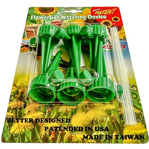 - Adjustable Self Watering Spikes.Indoor Outdoor Plastic Bottle Garden Plants Drip Irrigation Spike System. Works as Watering Bulbs or Globes Stakes with Screw Valve