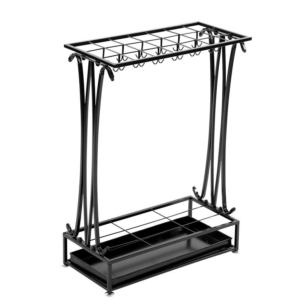 Modern Style Iron Umbrella Stand, Metal Umbrella Holder Storage Rack Organizer for Hotel, Office Building, Classroom, Home and Classroom (Black)