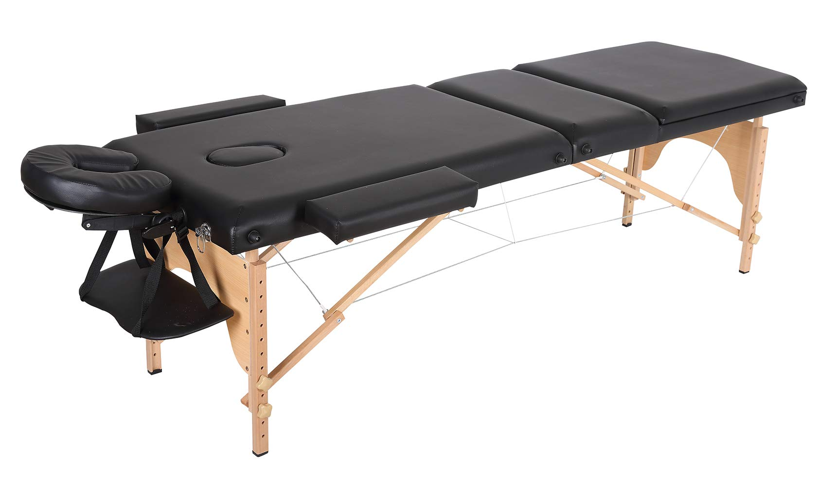 Portable Folding Massage Table, Chair Bed Facial SPA Tattoo Bed with Free Carry Case (Black-Three Folds)