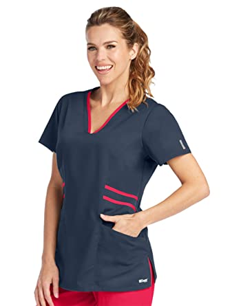 Amazon.com  Grey s Anatomy Active 41458 Marquis Contrast Trim V-Neck ... 2a091e034e11