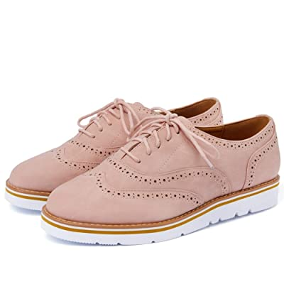Susanny Women's Wigtips Oxfords Platform Lace Up Brogues Slip on Perforated Spring Shoes | Oxfords