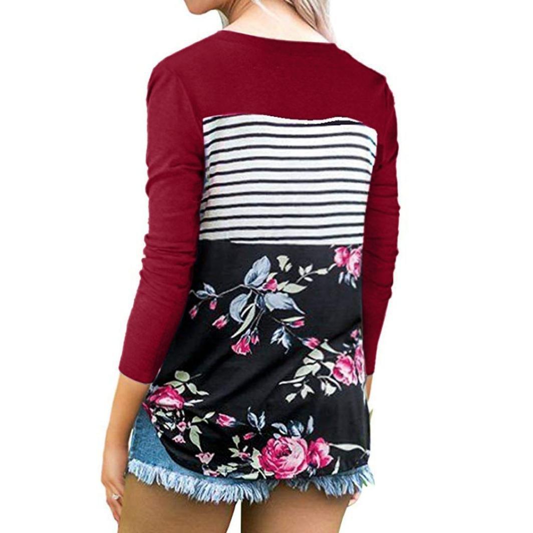 Blusa Estampada Rayas Mujer Floral Camiseta con Manga Larga O Neck Túnica Tops ❤ Manadlian: Amazon.es: Ropa y accesorios