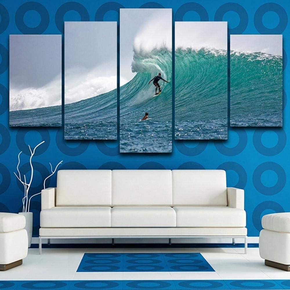 5 Pieza BXZGDJY Cartel De Lienzo Impreso HD Decoraci/ón para El Hogar Sala De Estar 5 Paneles Surfistas Olas del Mar Paisaje Arte De La Pared Pintura Cuadros Modulares 200X100CM Cuadro sobre Lienzo