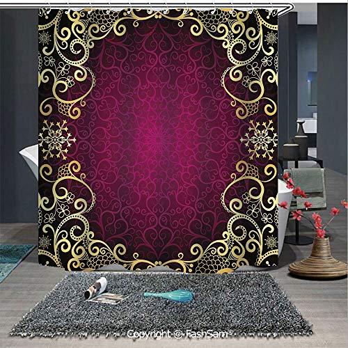 FashSam Polyester Shower Curtain Purple Vintage Framework with Curls Snowflake Fantastic Abstract Retro Style Decorative Curtains for Bathroom(65