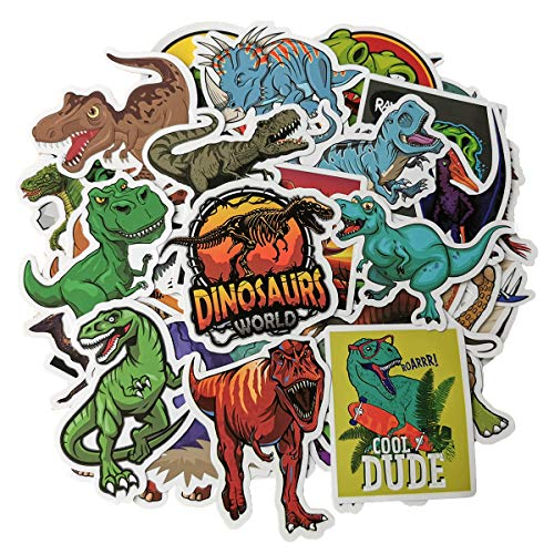 (Dinosaur Stickers Jurassic World Park Decals, Laptop Water Bottle Skateboard Phone Motorcycle Bicycle Luggage Guitar Bike Sticker Vinyl Waterproof Decal 50pcs Pack Dinosaur Party Supplies)