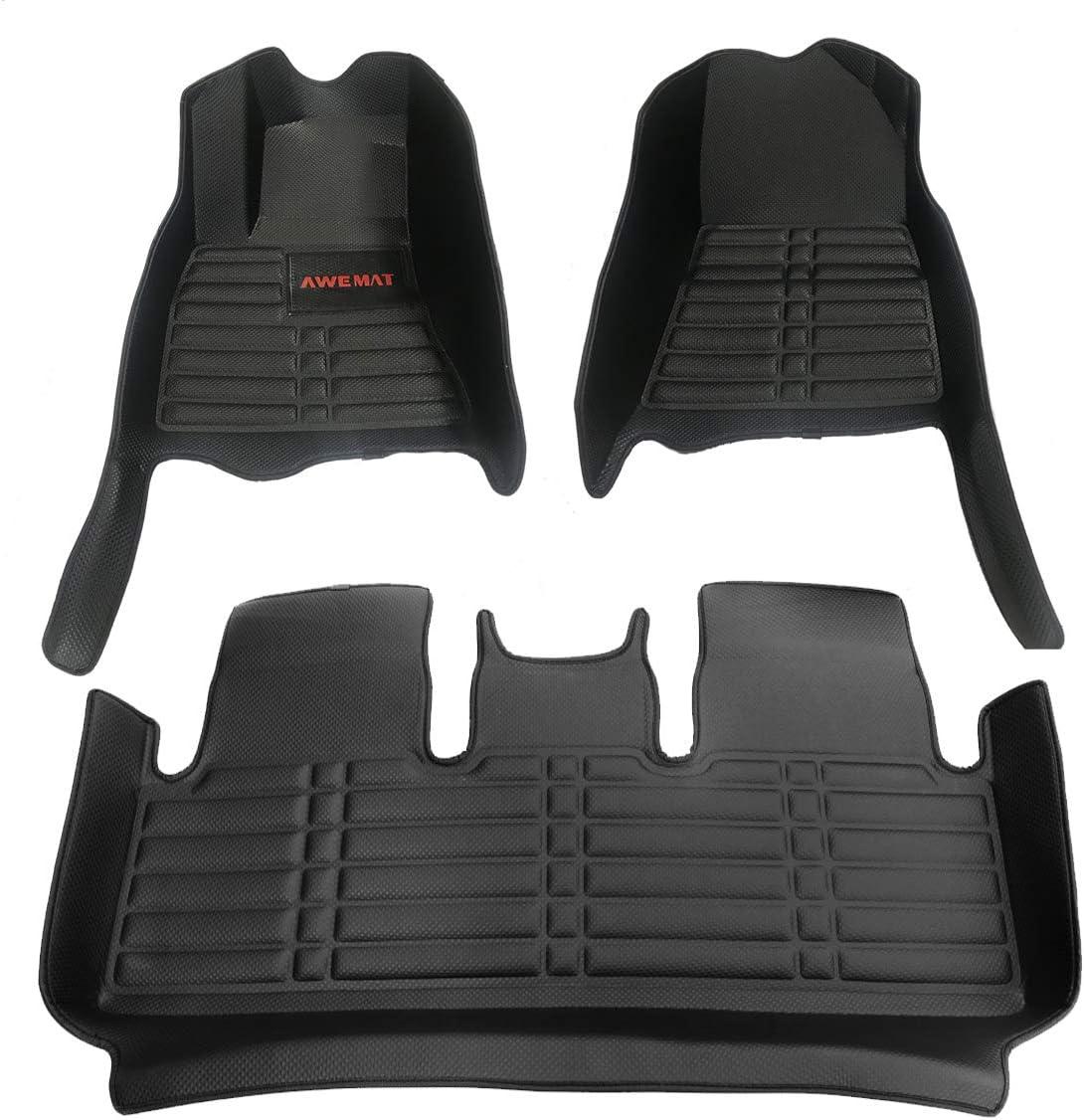 AWEMAT for Tesla Model 3 2017-2020 Model Digital Measured Exquisite Pattern Custom Fit Car Floor Mats for-Large Coverage -Waterproof-All Weather Protection-Black