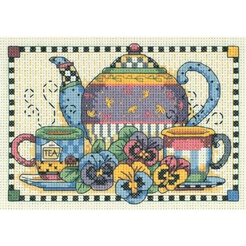 Dimensions Teatime Pansies Mini Counted Cross Stitch Kit - 1