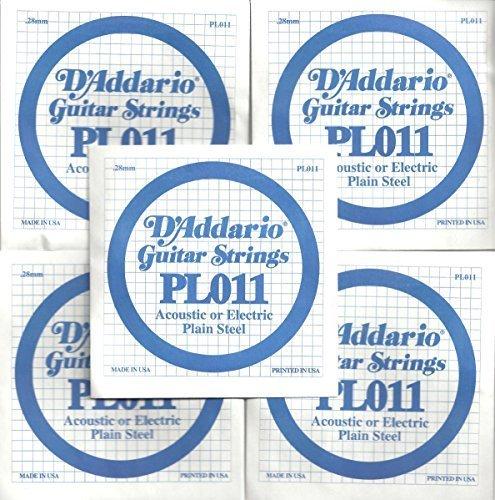 D'Addario PL011 Plain Steel Guitar Single String.011, FIVE PACK
