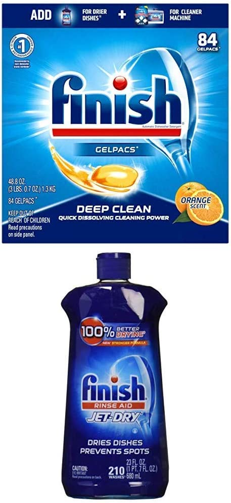 Finish All in 1 Gelpacs Orange, Dishwasher Detergent Tablets 84 ea and Finish Jet-Dry Rinse Aid, 23oz, Dishwasher Rinse Agent & Drying Agent