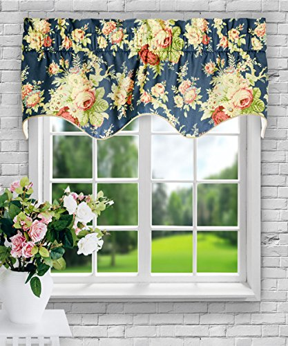 Ellis Curtain Sanctuary Rose 50-by-15 Inch Lined Duchess Filler Valance, - Swag Shades