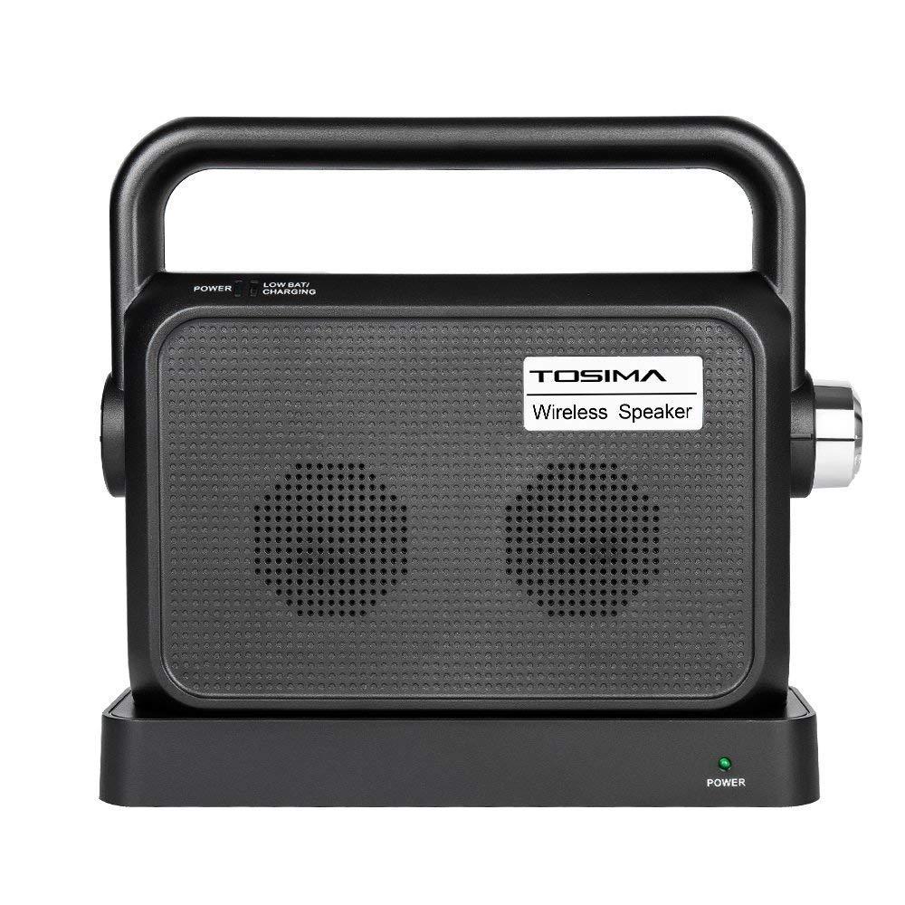 Tosima Wireless TV Speakers - Portable TV Audio Speaker Hearing Assistance, Full Range Stereo Speakers, TV Voice Amplifiers for hard of hearing