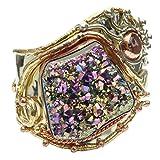 "SatinCrystals Quartz Titanium Bracelet 6-7"" Boutique Rainbow Coated Cluster Gemstone Gold Copper Cuff Goddess B01"