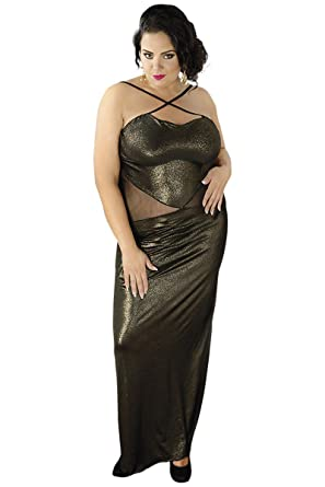 Goldenes Wetlook-Kleid \