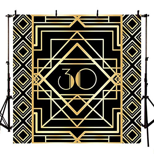 Mehofoto 8x8ft Great Gastby Backdrop Happy 30th Birthday Photography Backdrops Step and Repeat Adults Party Photo Booth Background for Photoshoot Props ()