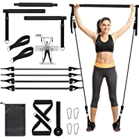 Pilates Bar Kit with Resistance Bands(30&50lbs),Adjustable for Different Height,2comfortable Handles and Door Anchor…