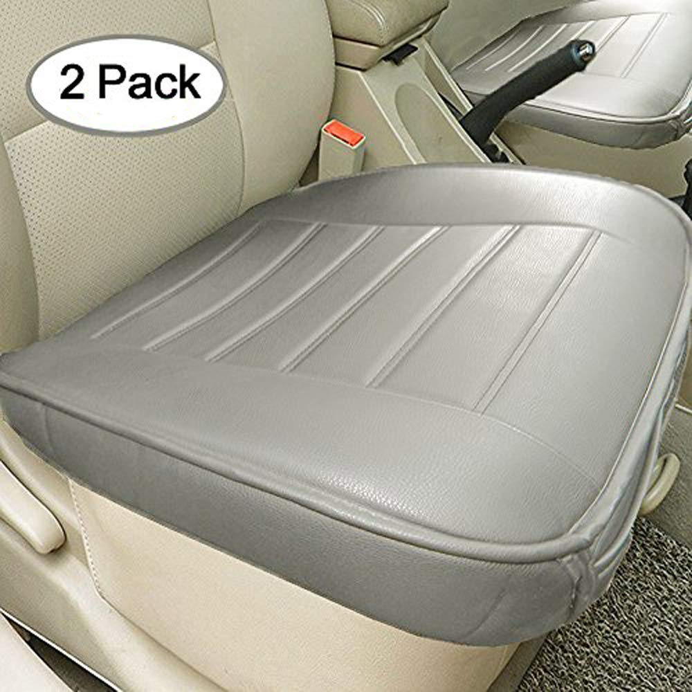 Big Ant Edge Wrapping 2pc Car Front Seat Cushion Cover Pad Mat for Auto Supplies Office Chair with PU Leather(Grey)