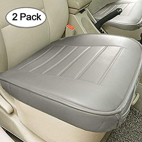 9a9bad9015a8d Big Ant Edge Wrapping 2pc Car Front Seat Cushion Cover Pad Mat for Auto  Supplies Office Chair with PU Leather(Grey)