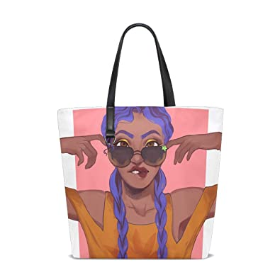 9ef7cfc32037 Amazon.com: African Fro Black Women Beauty Beach Tote Bags Travel ...
