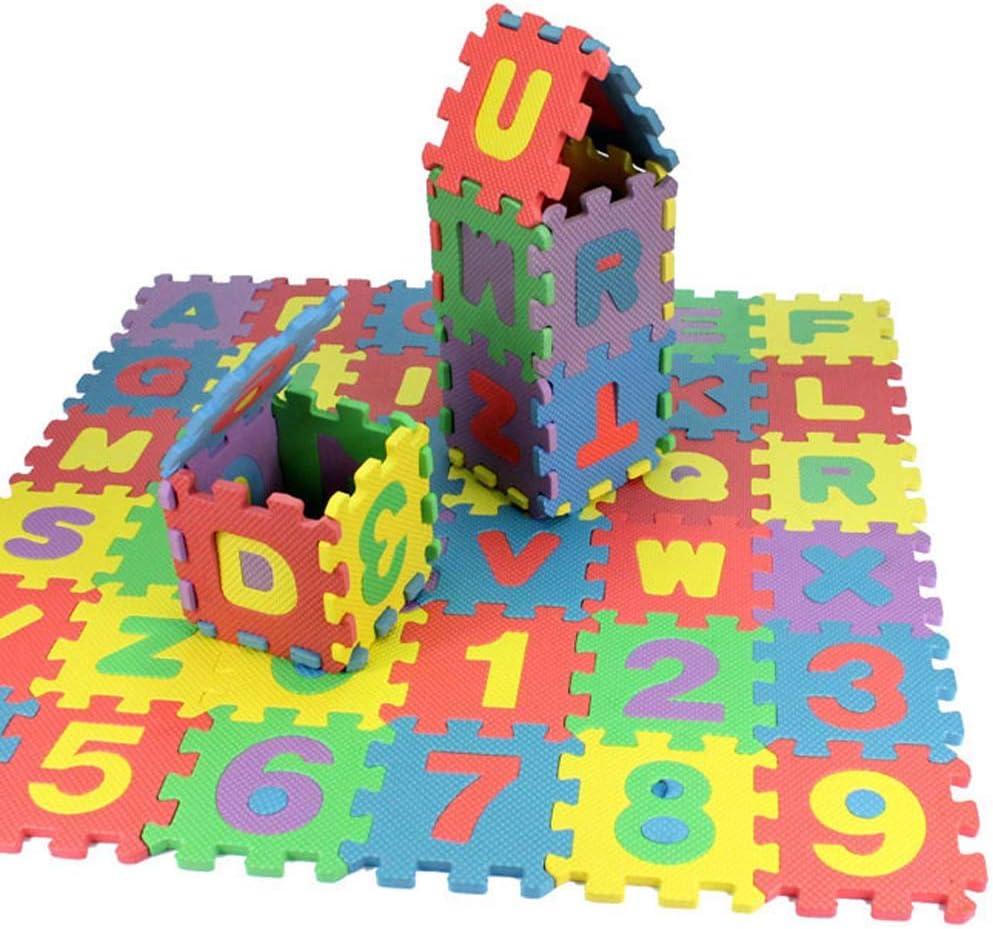 Chaque Carreau Mesure 6 x 6 Homieco Casse-t/ête Alphabet et Chiffres en Mousse Casse-t/ête Playmat Kid Tapis de Sol dexercice Couleur al/éatoire