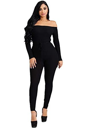 6c0654c8d1 Women's Off The Shoulder Long Sleeve Black Or Red Bodycon Jumpsuits Romper  Outfit with Drawstring
