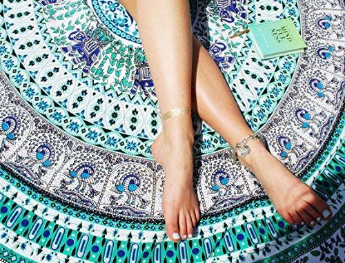 Popular Green Peacock Mandala Roundie Throw Tapestry Hippy Gypsy Cotton Beach Towel