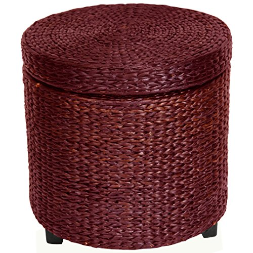 Oriental Furniture Rush Grass Storage Footstool - Red Brown