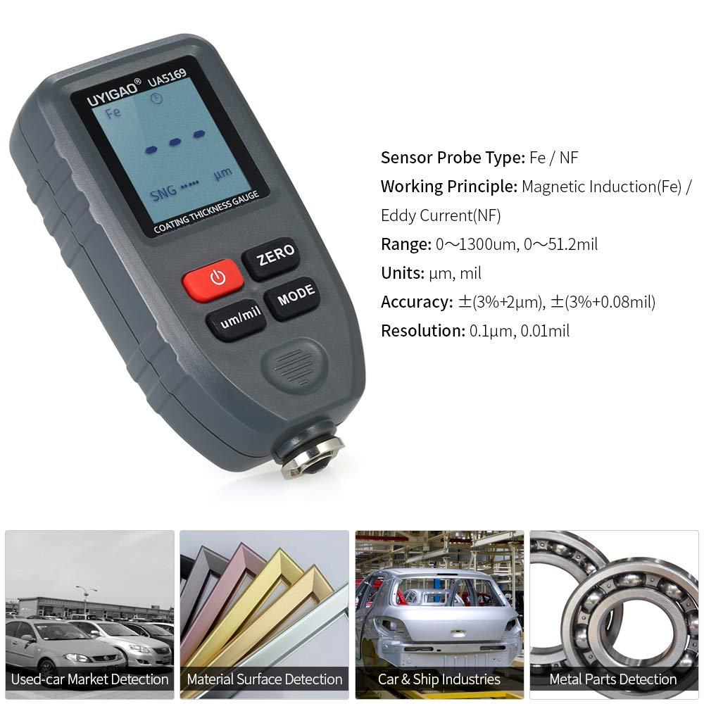 UYIGAO UYIGAO Medidor de espesor de revestimiento de pintura digital Revestimientos de mano Medidor de espesor con función automática Sonda Fe/NF 0-1300μm ...