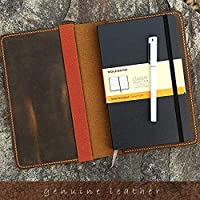 Leather notebook cover for moleskine classic notebook Large size/retro leather cover case for moleskine Large Cahier Volant Journal