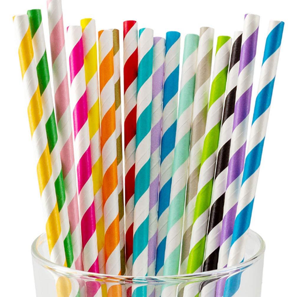 Benrise 500 paquetes de pajitas de papel biodegradables por Ocean Saver Mezcla multicolor reciclable cumplea/ños y bodas para fiestas
