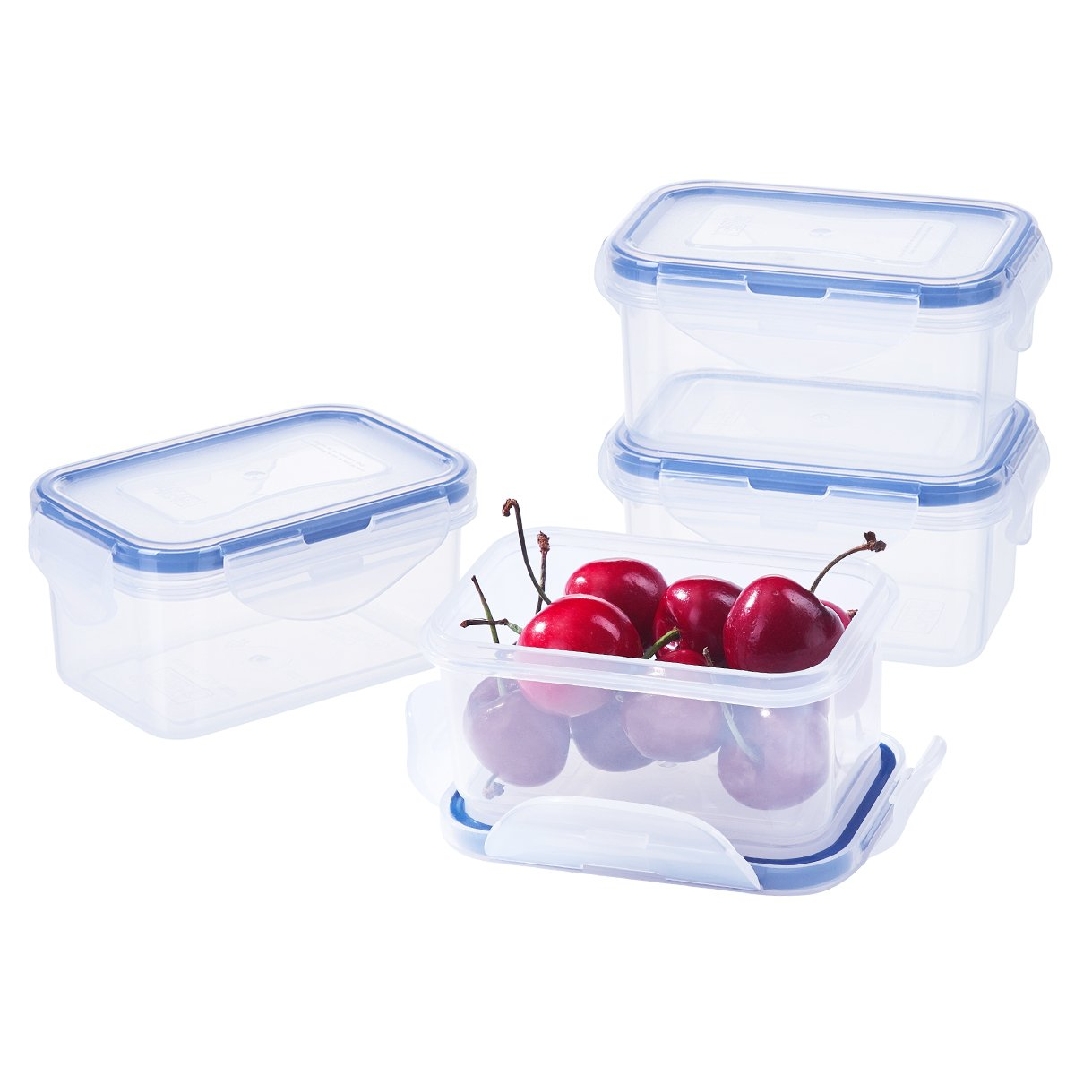 [4Pack] 6.1oz Baby Food Storage BPA-Free Airtight Plastic Containers Set, Rectangular Small Bento Lunch Boxes, Microwave, Freezer and Dishwasher Safe