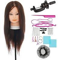 Inventario Claro!!! VigorIA Maniquí de cabeza 80% pelo humano 60cm Color, Entrenamiento de Cabello Cabezal de Modelo Maniquíes (con soporte & Herramienta para el cabello de trenzado) ,para aprendizaje práctica de peluquerías