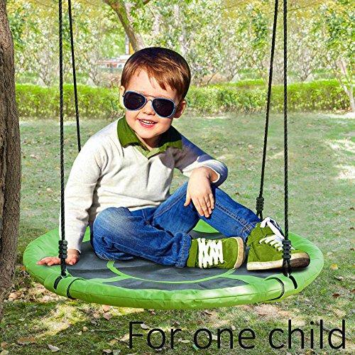 JOYMOR 24 Inch Diameter Round Oxford Detachable Swing with Adjustable Tree Rope,Great for Tree, Swing Set, Backyard, Playground, Playroom(Green) by JOYMOR