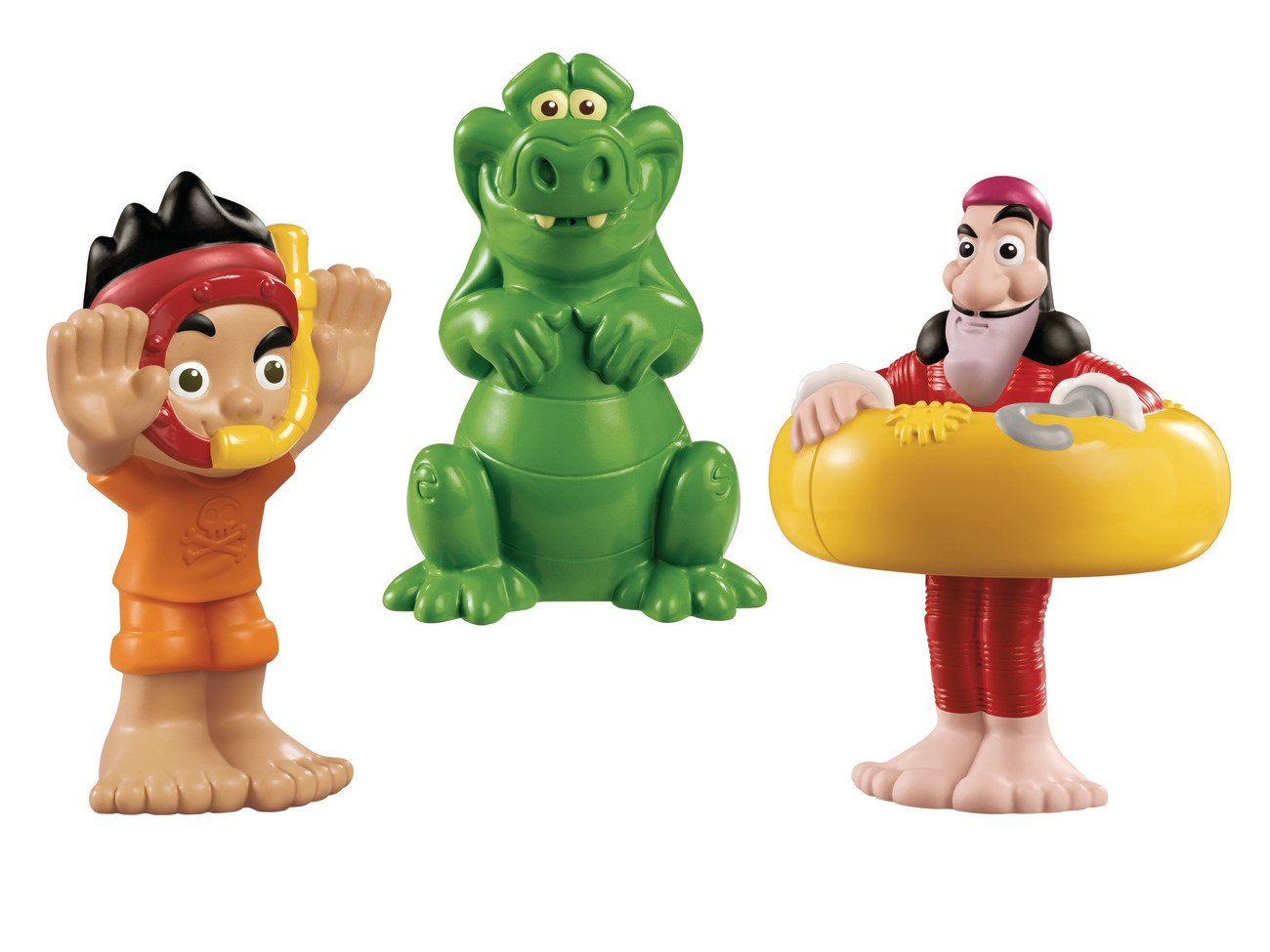 Fisher-Price Disney's Jake and The Never Land Pirates: Jake Bath Squirters All characters have squirting action Fun in and out of the tub! Includes Jake, Captain Hook and Croc squirting figures