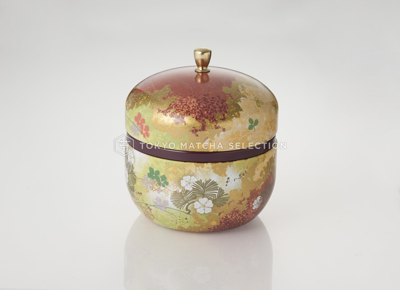 Japanese tea canister Suzuko - Flower Green (red) zentealifeCom