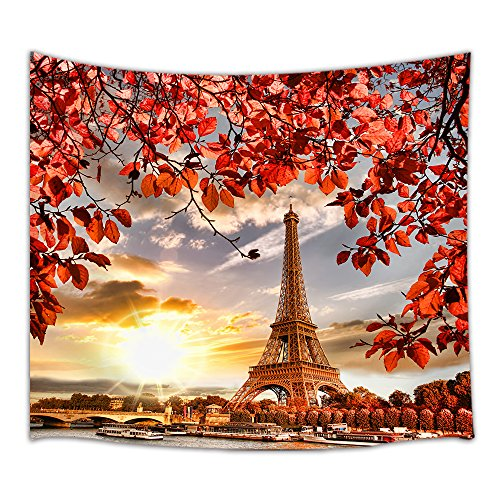 NYMB Paris Tapestry, Eiffel Tower and Red Leaves Plant on Seine Cloudscape Sunlights Vacation Destination, Wall Art Hanging for Bedroom Living Room Dorm 71 X 60 Inches Wall Blankets Home Decor …
