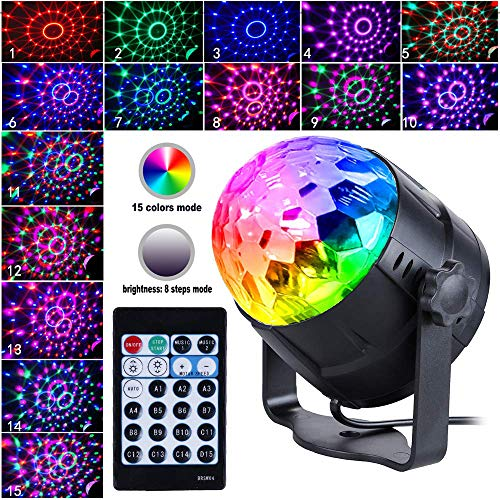 New Arrival Disco Light 15-Color Disco Ball Light Sound Activation Party Lights with Remote Control Strobe Light Stage Light with dimming Party Birthday KTV DJ bar car Holiday Decoration (US Plug) ()