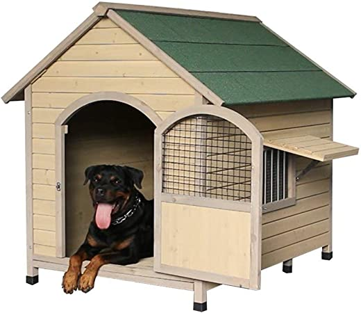 Perrera Casa para Perros Casa De Madera Maciza para Mascotas Jardín Exterior Casa Impermeable Casa para Mascotas De Interior Extraíble Y Lavable Cajones: Amazon.es: Hogar