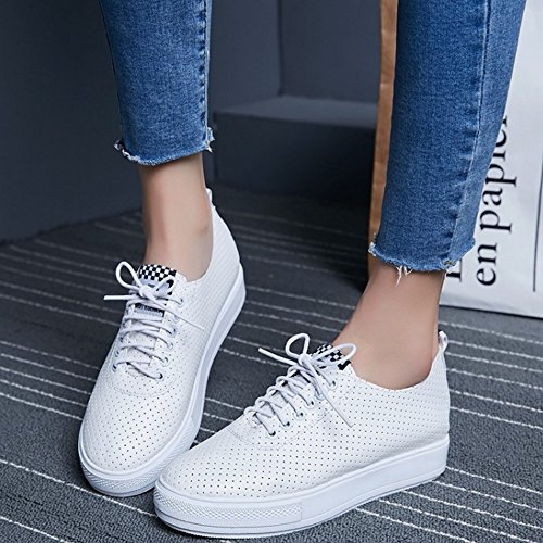 COOLCEPT Women Fashion Lace Up Court Shoes Casual Closed Toe Platform Shoes Black z9TrjT3