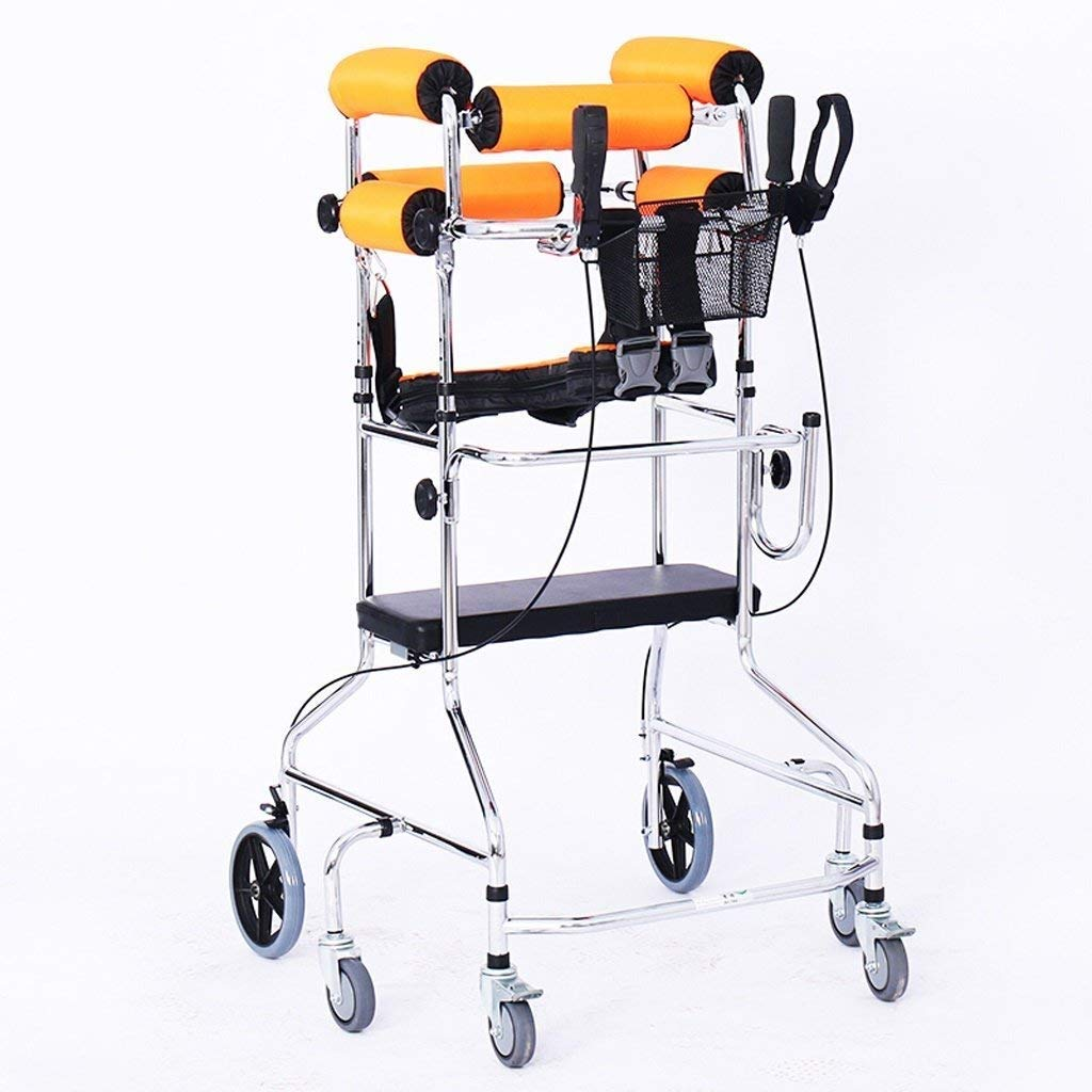 Folding Six-Wheel Roller Walker with Seat Adjustable Height Aluminum Walking Frame Suitable for Elderly Disabled Lower Limb Training Standard Walker Auxiliary Walking Safety Walker (Color : Yellow) by YL WALKER (Image #2)